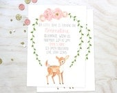 Little Deer Floral Birthday Invitation - First Birthday Invitation - Printable Custom Birthday Invitation - Girl Birthday Invitation