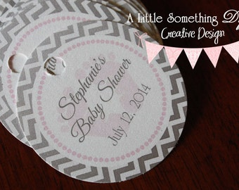 Pink with Gray Chevron Baby Footprint Tag