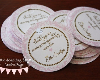 Little Halo Pink Damask Favor Tags with Dark Gold/Brown Accents - Baptism/Christening/Dedication