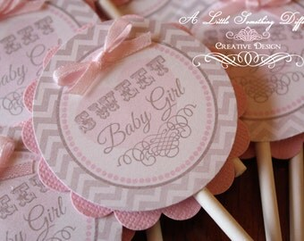 The Annabelle Collection - Gray and Pink Cupcake Toppers
