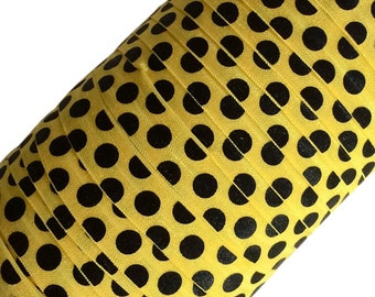 "Black Large Polka Dots on Yellow 5/8"" Fold Over Elastic - 1, 3 or 5 Yards"