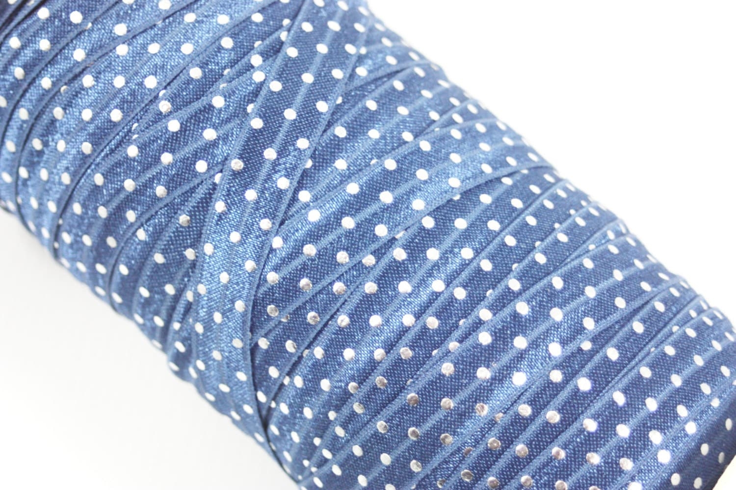 Silver Metallic Polka Dots on Navy Blue by ...
