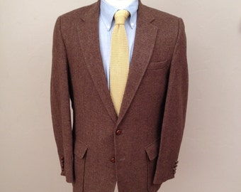 Haggar Imperial brown herringbone tweed blazer