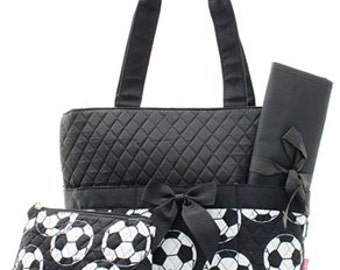 3 Piece Personalized Soccer Diaper Bag with Changing Pad And Cosmetic Case
