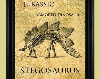 Stegosaurus Illustration, Dinosaur Skeleton Art Print, Jurassic Period, Armored Dinosaur
