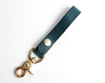 The Useful Fob - Midnight BLUE and Solid Brass - Leather Key Fob