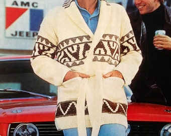 vintage knitting pattern PDF for Starsky and Hutch style jacket for men or women 32-46 inch chest