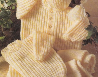 baby knitting pattern pdf gorgeous pixie hood cardigan sweater and leggings set 16-22 inches