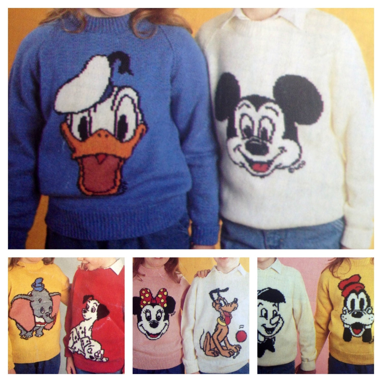 Knitting Mickey Mouse Pattern : mickey and minnie mouse knitting pattern sweaters for children