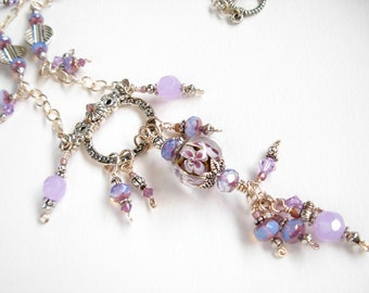 Purple, Lavender, and Silver Necklace