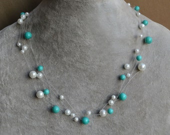 illusion necklace, Floating pearl necklace, Multiple strand necklace, Bridesmaid necklace, turquoise white Pearl Necklace, Bride Necklace