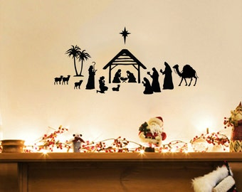 Manger/Nativity Scene Christmas Wall Decal 24x11
