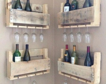 Rustic wine rack reclaimed wood made from recycled pallets 50cm
