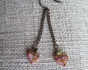 pink earrings, heart earrings, chain earrings, very long earrings, delicate earrings, Valentine earrings, heart jewelry, Valentine jewelry