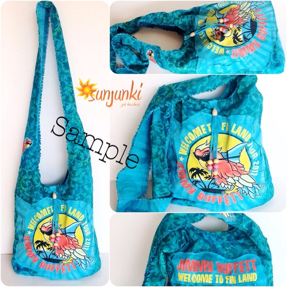 Items similar to jimmy buffett custom t shirt bag hippy for Personalized t shirt bags