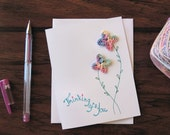 Encouragement card, thinking of you crochet flowers, hand drawn card