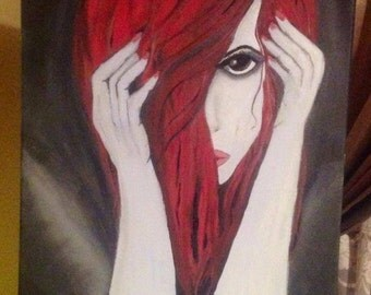 Red haired  beauty, girl painting abstract art.