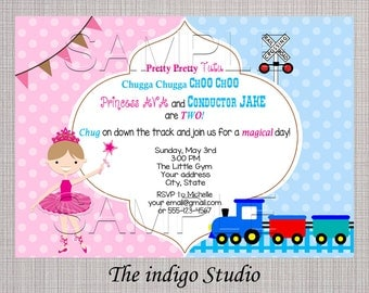 Tutu and Choo Choo - twin or double birthday Invite Card - Personalized invitation you Print