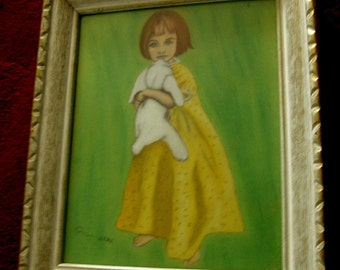 Lovely Folk Naïve Painting on board of a Young Girl Signed Collison
