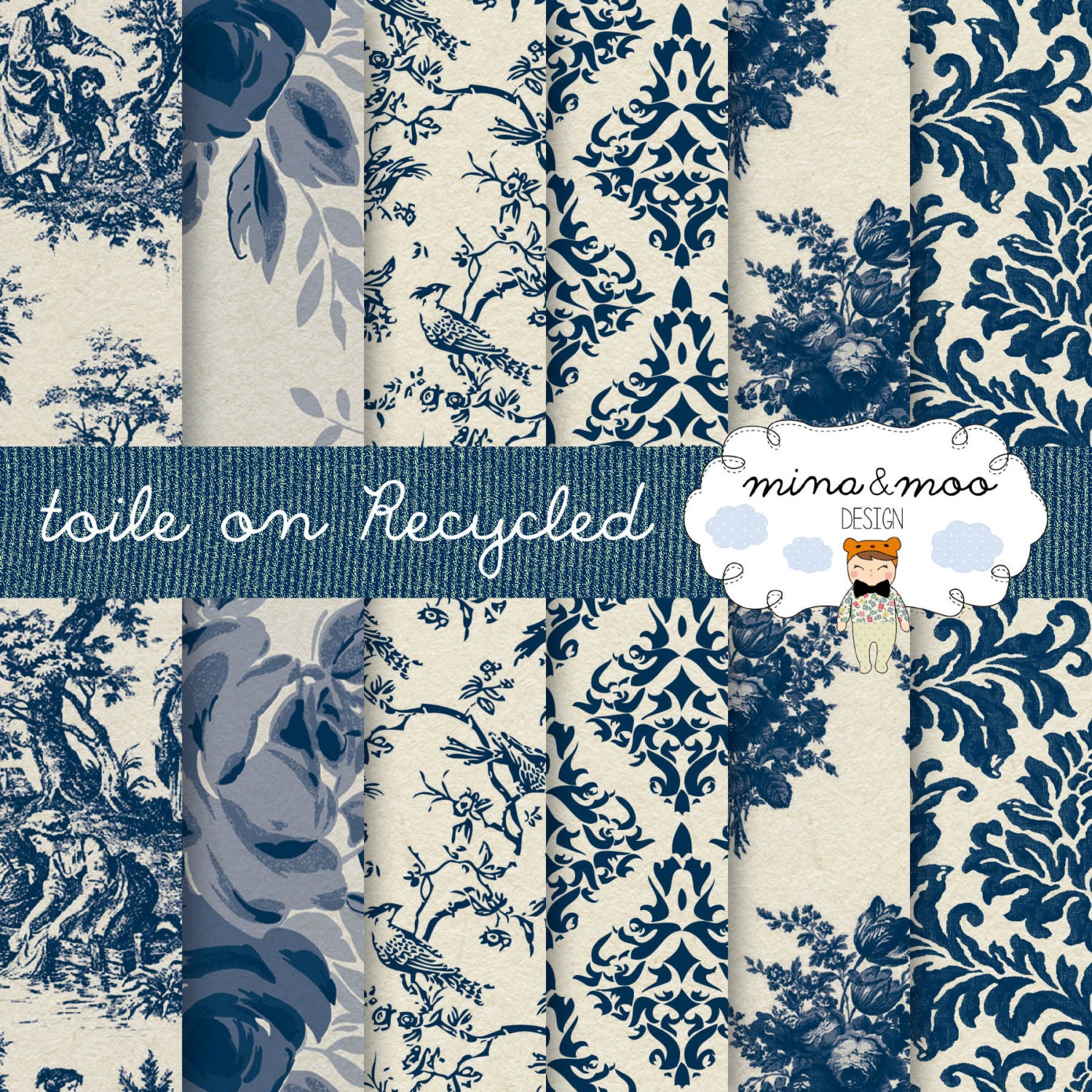 Toile de jouy classic blue on a recycled background french - Tapisserie toile de jouy ...