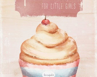 Vintage cupcake Illustration Art Print- home decor- kids decor- wall art illustration- sweet,cupcake-
