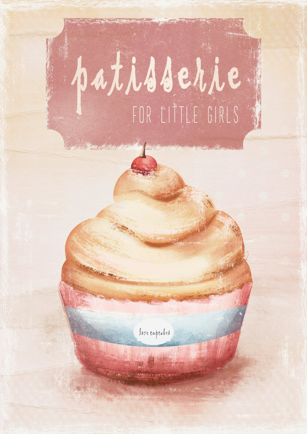 Vintage cupcake illustration art print home decor kids for Cupcake home decorations