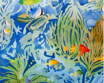 Aquaria by  Alexander Henry in Pale Blue Fish Aquarium Fabric