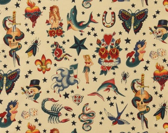 Tattoo in Natural, 100% Cotton Fabric by Alexander Henry Fabric - see three colors