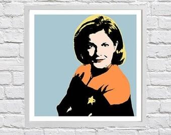 Captain Janeway pop art print
