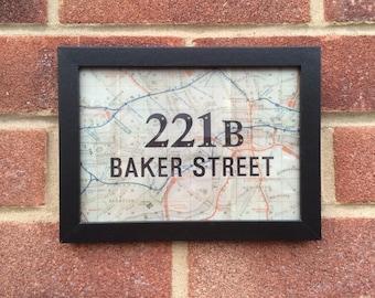Sherlock Holmes inspired television print Baker Street. Framed 13cmx18cm handmade gift.