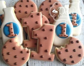 Milk & Cookies Milk and Cookies First Birthday Cookies