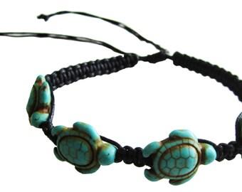 Turquoise Handmade Turtle Hemp Bracelet - Black and Blue Anklet and Bracelet Turtle Bracelet