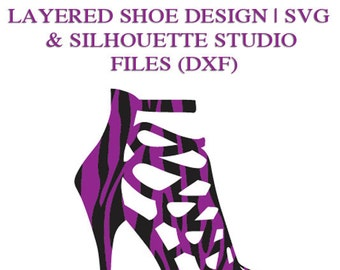 Layered Shoe Design File for Cutting Machines | SVG and Silhouette Studio (DXF)