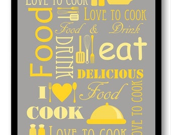Yellow Grey Gray Kitchen Print Food Love To To Cook Eat Food Drink Kitchen Art