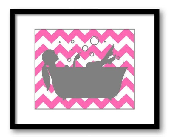 Bathroom decor bathroom print hot pink and grey gray girl with for Pink and grey bathroom decor