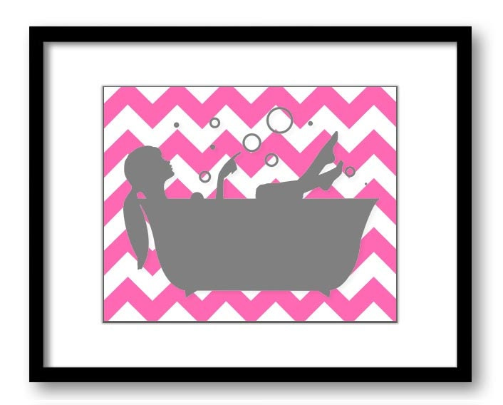 Bathroom decor bathroom print hot pink and grey gray girl with for Pink and gray bathroom sets