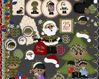 Christmas Army Hero Clipart & Elements II