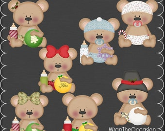 Baby Bear Christmas-Set  2 Clipart