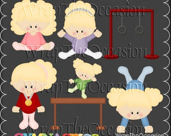 Gymnastics - Blonde Kids Exclusive Clipart