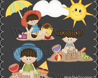 Summertime Fun Brunette Kids Set3 - CU Clipart