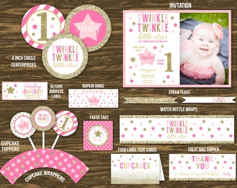 Gold Glitter Twinkling Star Birthday Ultimate Party Package - Printable