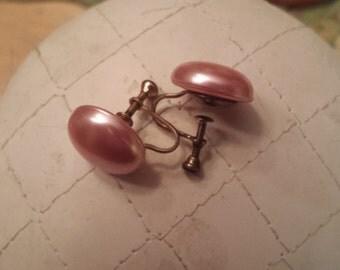 Vintage Pink Faux Pearl Screw Back Earrings