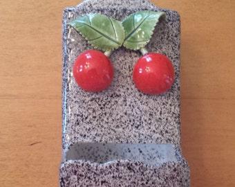 Vintage Cherry Design Matchbox Holder