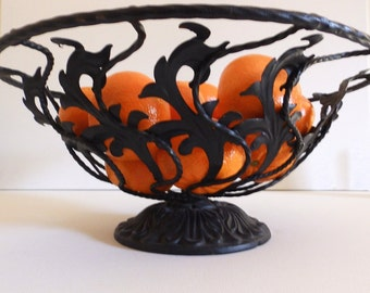 Ornate Vintage Black Wrought Iron Basket or Fruit Bowl