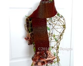 Autumn Frills Crocheted Scarf, Ruffled Crochet Scarf, Crochet Scarf, Crocheted Scarflette, Acrylic, Wool, Polyester, Nylon, CR1002