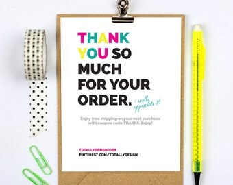 Business Thank You Cards INSTANT DOWNLOAD - Brightly Bold Multi-colored