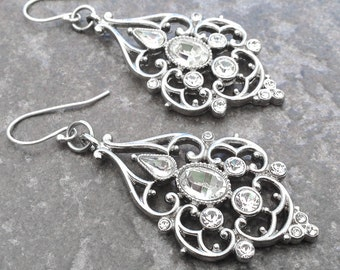 Filigree Crystal Drop Earrings by Nearly Naked