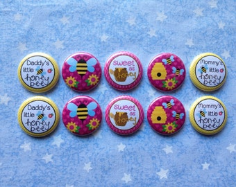 """Bumblebee Buttons, Sweet As Honey, Daddy's Little Honeybee, Mommy's Little Honeybee, 1"""" Flatback Buttons, 10 Buttons Total"""