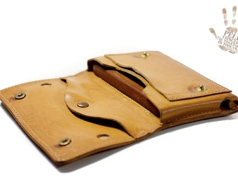 Samsung Galaxy S7 S6 Edge S6 Edge Plus S5 S4 S3 S2 Genuine Leather Case for use as a belt pouch for wallet coin banknote