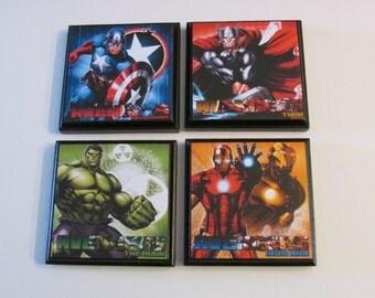 avengers room wall plaques set of 4 avengers boys room decor captain america hulk - Bedroom Wall Plaques